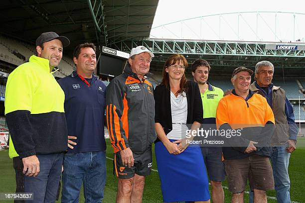 Greater Western Sydney Giants coach Kevin Sheedy and Senator Kate Lundy pose during the launch of the Building Australia Tribute Match at Etihad...