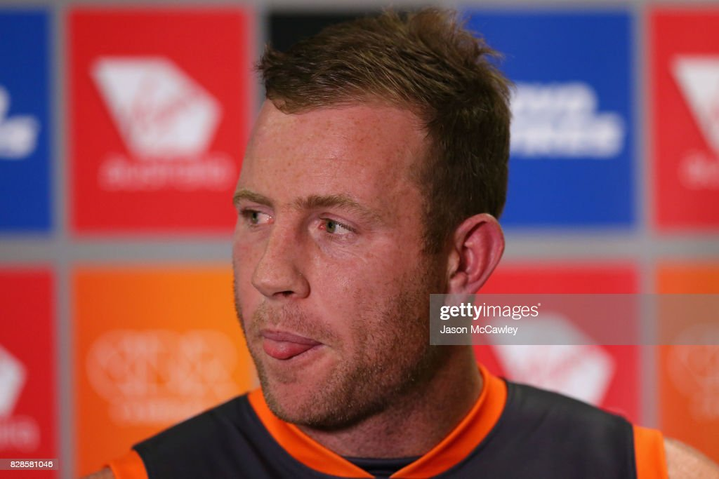 Greater Western Sydney Giants forward Steve Johnson speaks to the media at a press conference to announce his retirement from AFL football at Spotless Stadium on August 10, 2017 in Sydney, Australia.