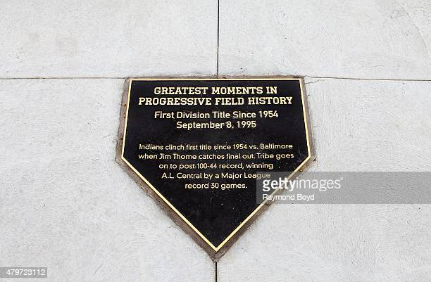 """""""Greatest Moments In Progressive Field History"""" plaque sits in the plaza at Progressive Field, home of the Cleveland Indians baseball team on June..."""