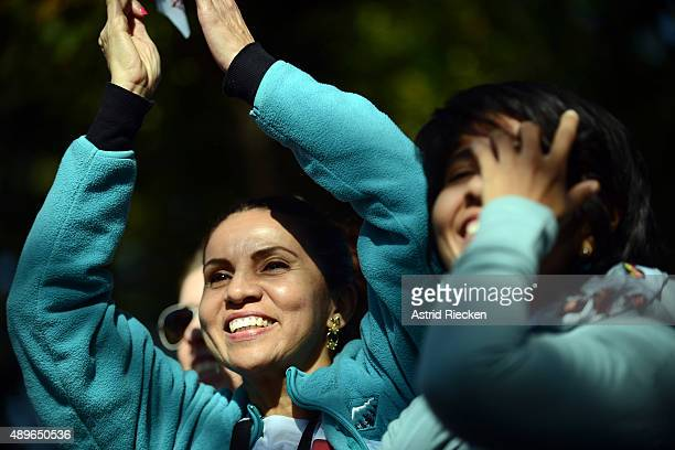 Grecia Carvajal came all the way from Fort Lauderdale Florida to see Pope Francis during a parade on the streets around the Ellipse south of the...