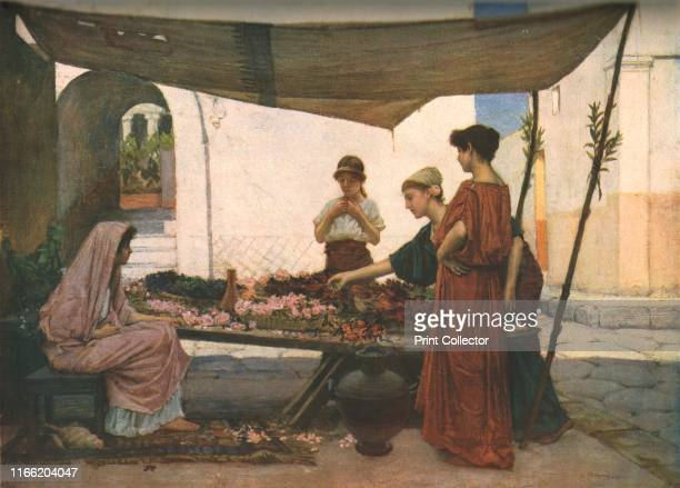 A Grecian Flower Market' circa 1880 Scene in Ancient Greece women at a stall selling flowers Painting in the Laing Art Gallery Newcastle upon Tyne...