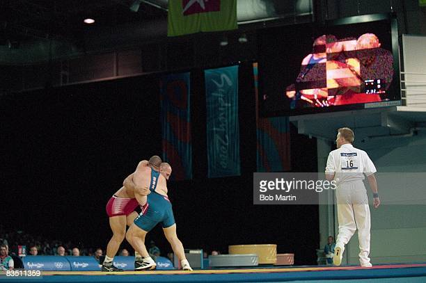 2000 Summer Olympics Russia Alexander Karelin in action vs USA Rulon Gardner during Men's 130kg Gold Medal Match at Sydney Convention and Exhibition...