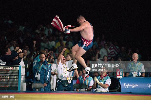 2000 Summer Olympics USA Rulon Gardner victorious vs Russia Alexander Karelin during Men's 130kg Gold Medal Match at Sydney Convention and Exhibition...