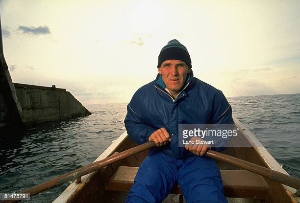 GrecoRoman Wrestling Casual portrait of USSR Alexander Karelin rowing boat on Black Sea Alushta Soviet Union 3/1/1991