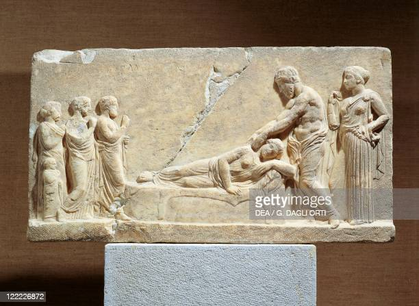 Greece 5th century bC Marble relief Asclepius or Hippocrates treating ill woman