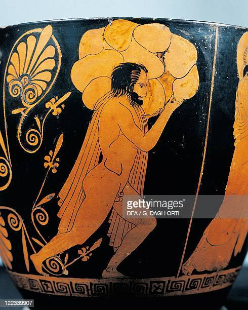 Greece 5th century bC Redfigure skyphos attributed to painter Penelope Giant builds Acropolis walls under guidance of Athena Detail