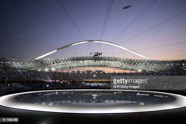 Massive Swiss-built zeppelin equipped with state-of-the-art surveillance equipment hovers over the Olympic Stadium in Athens 13 August 2004 during...