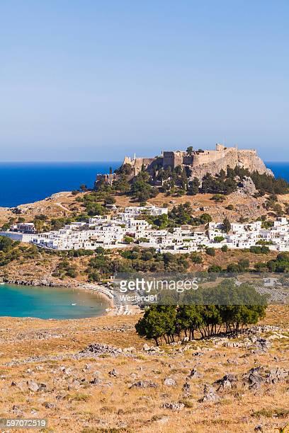 Greece, Aegean Islands, Rhodes, Lindos, View to Acropolis of Lindos