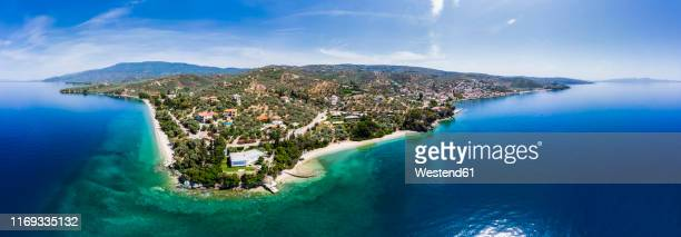 greece, aegean sea, pagasetic gulf, aerial view of afissos - pelion stock pictures, royalty-free photos & images