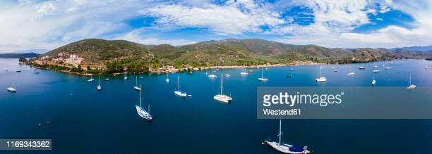 greece, aegean sea, pagasetic gulf, aerial view of bay of milina - volos stock pictures, royalty-free photos & images