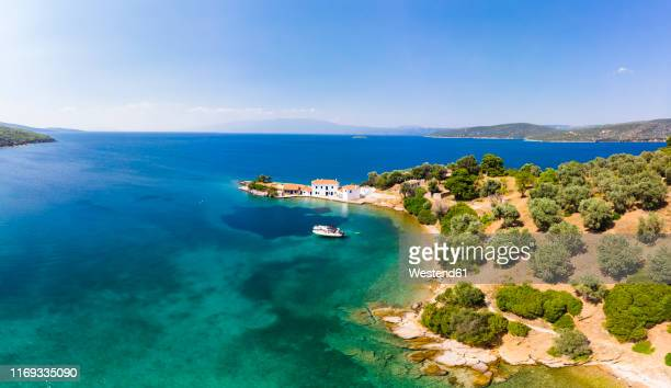 greece, aegean sea, pagasetic gulf, peninsula pelion, aerial view of tzasteni - pelion stock pictures, royalty-free photos & images