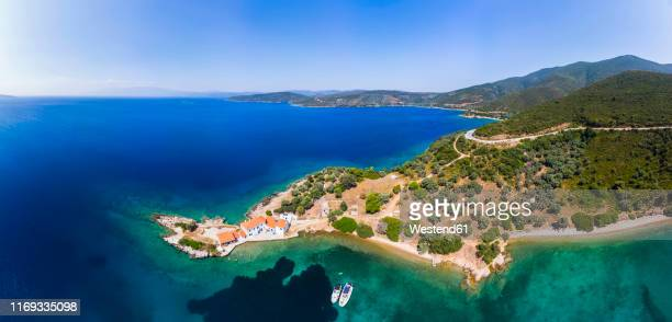 greece, aegean sea, pagasetic gulf, peninsula pelion, aerial view of tzasteni - volos stock pictures, royalty-free photos & images