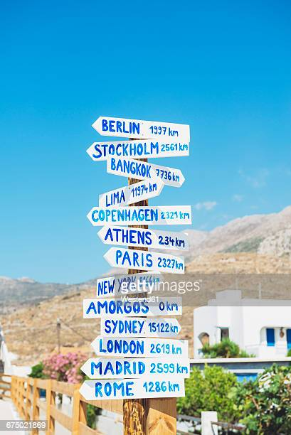 Greece, Amorgos, sign posts, cities and distances