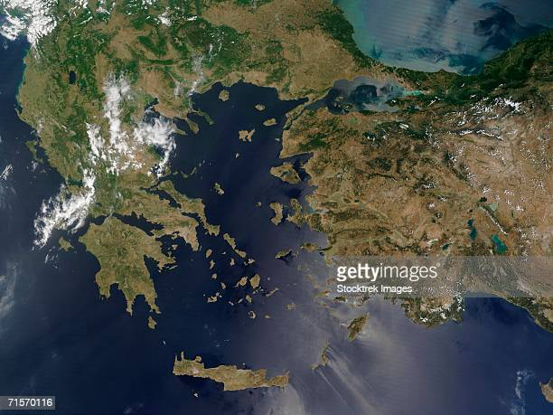 """""""greece and turkey, satellite image"""" - greece v albania stock pictures, royalty-free photos & images"""