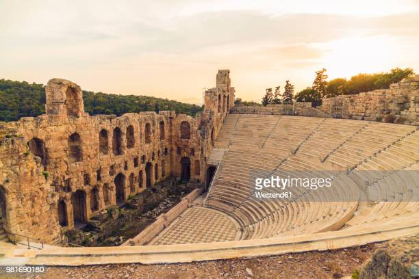greece, athens, acropolis, theatre of dionysus - amphitheatre stock pictures, royalty-free photos & images