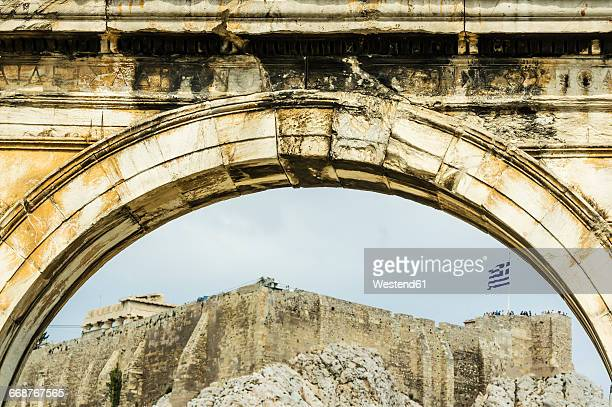Greece, Athens, Arch of Hadrian, Acropolis in the background