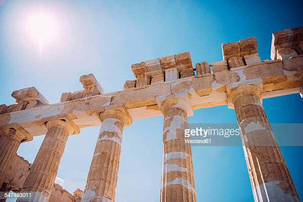 Greece, Athens, columns of Parthenon temple