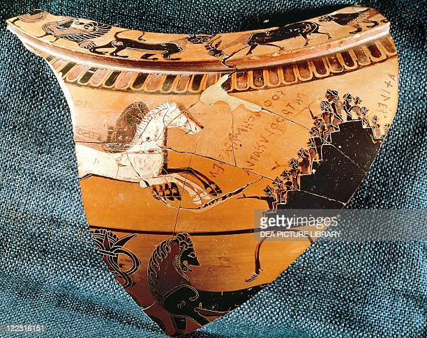 Greece Athens Fragment of attic blackfigure pottery depicting scenes of sport support circa 570 BC