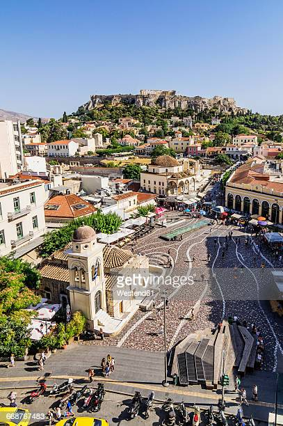 Greece, Athens, Monasteraki square and Acropolis in the background