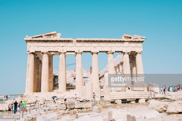 Greece, Athens, tourists visiting the Parthenon temple on the Acropolis