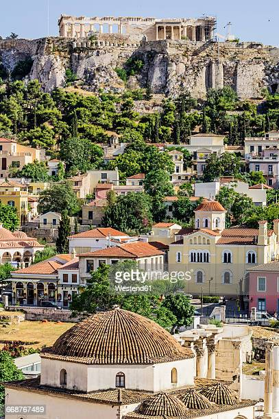 greece, athens, view to acropolis - athens greece stock pictures, royalty-free photos & images