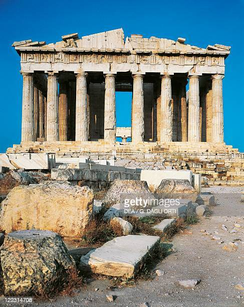 Greece - Attica - Acropolis of Athens , Parthenon, 5th century b.C. Western front.