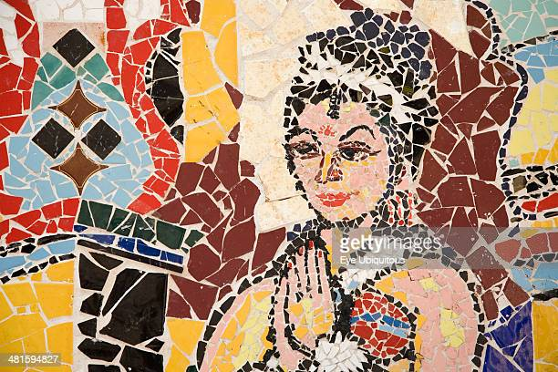 Greece Attica Athens Mosaic of colored tile pieces depicting female figure at city subway station