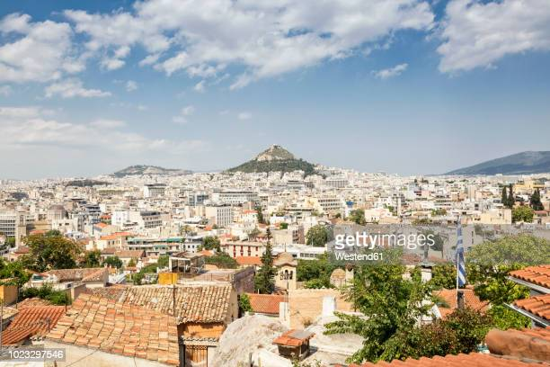 Greece, Attica, Athens, View from Plaka district to Mount Lycabettus