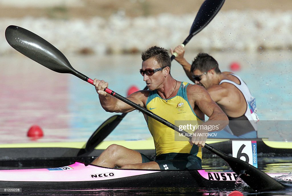 Australian Nathan Baggaley powers to finish second during the Men's K1 500m semi-finals for the Athens 2004 Olympic Games at the Schinias Rowing and Canoeing Center, outside Athens, 26 August 2004.