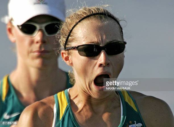 Australian Sally Newmarch and Amber Halliday at the start of the Lightweight Women's Double Sculls semifinal in the Athens 2004 Olympic Games at the...