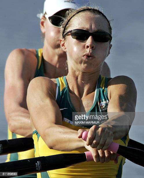 Australian Sally Newmarch and Amber Halliday during the Lightweight Women's Double Sculls semifinal in the Athens 2004 Olympic Games at the Schinias...