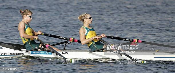 Australian Sally Newmarch and Amber Halliday in action during the Women's Lightweight Double Sculls Heat 3 at the Schinias Rowing and Canoeing Center...