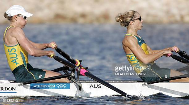 Australian Sally Newmarch and Amber Halliday power to finish first during the Lightweight Women's Double Sculls semifinal in the Athens 2004 Olympic...