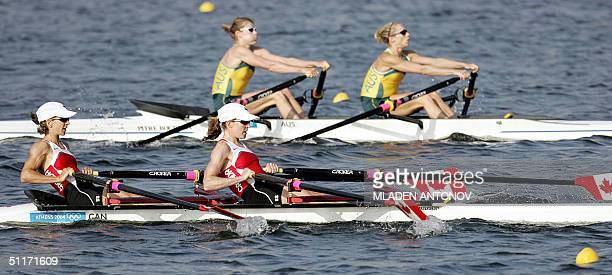 Australian Sally Newmarch with teammate Amber Halliday compete against CanadianMara Jones and Fiona Milne during the Women's Lightweight Double...