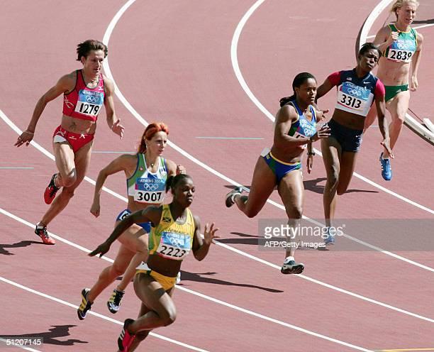 Bulgary's Monika Gachevska Slovenia's Alenka Bikar Jamaica's Veronica Campbell Brazil's Lucimar Moura USA's Shauntea La Moore and South Africa's...