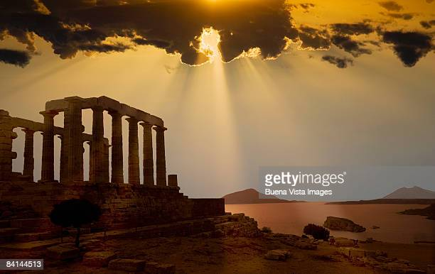 Greece. Cape Sounion. Temple of Poseidon at sunset