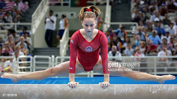 Carly Patterson of the US takes part in the balance beam event during the Women's Individual AllAround Gymnastics Final in the Olympic Indoor Hall at...