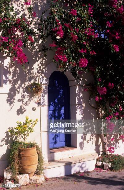 Greece Cephelonia Assos Fishing Village Door Bougainvillea
