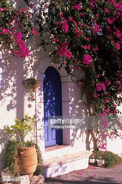 Greece Cephelonia Assos Fishing Village House Door And Windows Bougainvillea