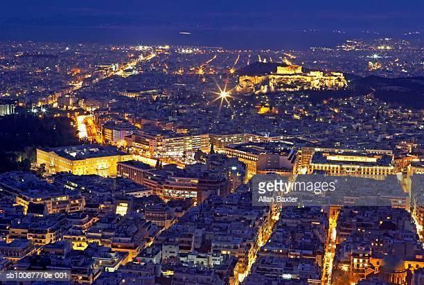 Greece, cityscape of Athens with Acropolis at night