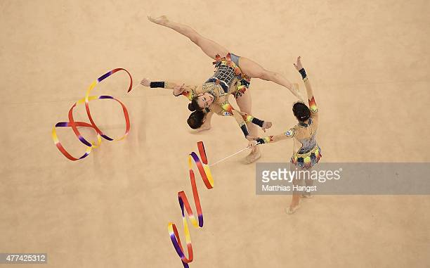 Greece compete in the Rhythmic Gymnastics Group AllAround final during day five of the Baku 2015 European Games at the National Gymnastics Arena on...