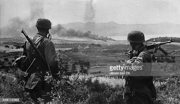 2WW Greece conquest of Crete 'Operation Merkur' '2005 war theatre German parachuters looking from a hill to the coastal plain May 1941