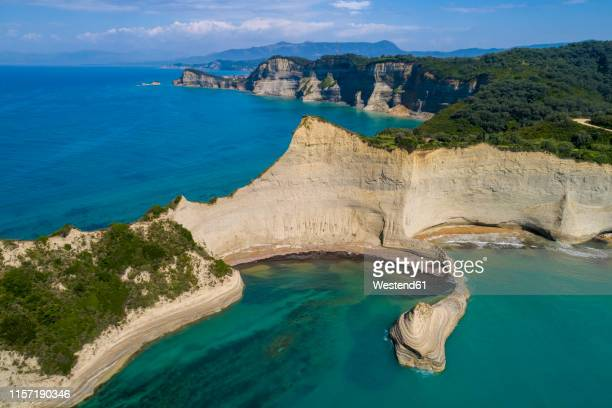 greece, corfu, aerial view of cape drastis - corfu stock pictures, royalty-free photos & images