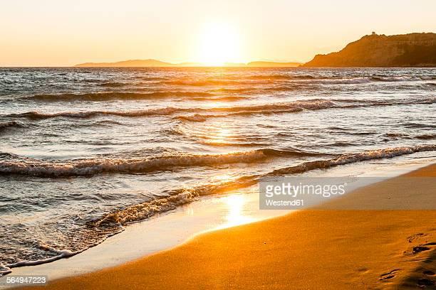 Greece, Corfu, Arillas beach in the evening