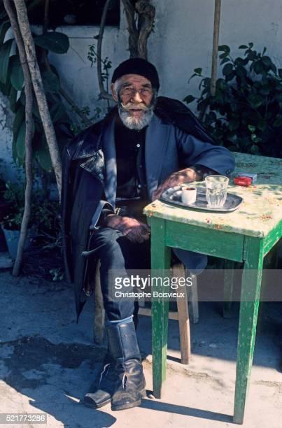 Greece, Crete, Agios Basilios village, Old cretan man