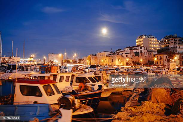 greece, crete, harbour of iraklion - herakleion stock photos and pictures