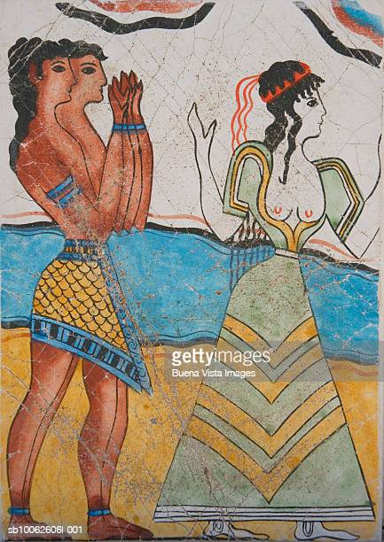 greece, crete, knossos, fresco at palace of knossos, cup bearers and priestess - ancient greece photos stock pictures, royalty-free photos & images