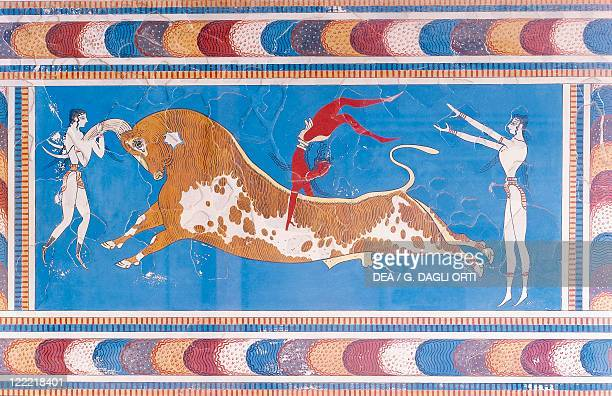Greece Crete Knossos Palace of Minos Reconstructed fresco depicting dancers performing bullleaping of taurokathapsia circa 17001450 bC