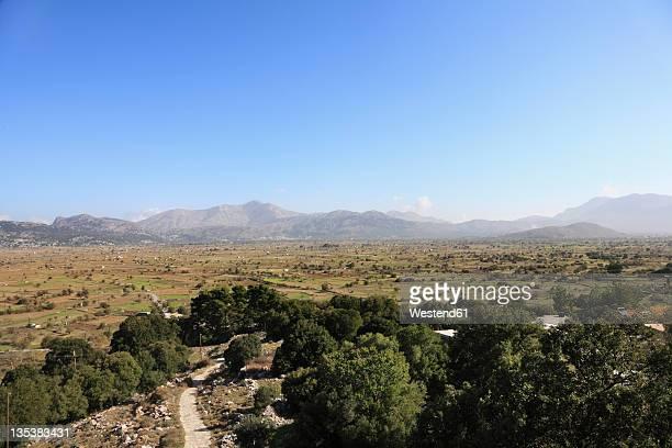 greece, crete, lasithi plateau, view of landscape - altopiano foto e immagini stock