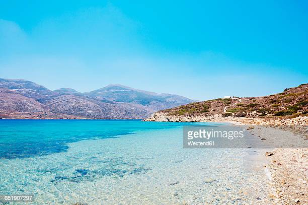 Greece, Cyclades, Amorgos, eooden dock and Aegean Sea in Nikouria island